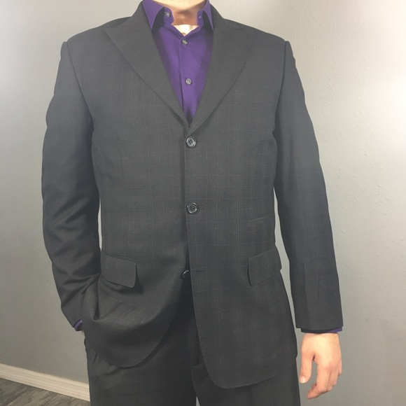 mecca Other - MECCA black 3 button suit with purple stripes 40R
